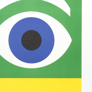 """Sheet divided horizontally into three equal sections.  In upper section, on green ground, an eye with blue iris and white eyebrow; below, on a yellow ground, a white bee with black stripes; below this, on blue ground, an """"M"""" in horizontal white stripes."""