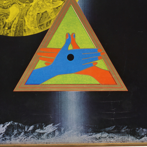 """Predominantly black poster with text: """"Stedelijk Museum Amsterdam: Tadanori Yokoo 22 2 tm  14 4 1974"""" across top. Central, red, blue, green geometric shapes above a green triangle enclosing red and blue hands. Photograph of the artist on lower left-hand side, and yellow representation of diety Jibbo Kannon."""