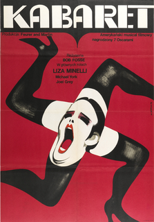 "On a scarlet-red field, is the image of four women's legs in black stockings and high heels, arranged in a Swastika, with a face of a heavily made-up screaming androgynous character in the center. The inscriptions are: on the black strip at the top, in white- ""KABARET"". On the red main field: at left- ""Producja: Feurer and Martin"", at right-""Amerycanski musical filmowy / nagrodzony 7 Oscarami"", and at center- ""Rezyseria / BOB FOSSE / W glownych rolach / LIZA MINELLI / Michael York / Joel Grey""."