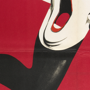 """On a scarlet-red field, is the image of four women's legs in black stockings and high heels, arranged in a Swastika, with a face of a heavily made-up screaming androgynous character in the center. The inscriptions are: on the black strip at the top, in white- """"KABARET"""". On the red main field: at left- """"Producja: Feurer and Martin"""", at right-""""Amerycanski musical filmowy / nagrodzony 7 Oscarami"""", and at center- """"Rezyseria / BOB FOSSE / W glownych rolach / LIZA MINELLI / Michael York / Joel Grey""""."""