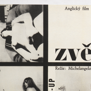 "The white background is divided by a grid into seven sections. Going clockwise, the sections are: (1)title: following upper margin ""Anglicky film vyznamenany  Velkou cenou na MFF v Cannes"", and ""zvetsenina"" at lower margin of section; (2)title and pictorial exegesis: at right, vertically- ""BLOW UP"", along top margin: ""Rezie: Michelangelo Antonioni"", and the images of a plan of a sports arena, the number one, as appearing on a referee's scorecard, the pointing finger and hand of a man in a suit and cufflinks as it would appear in cartoons, and a diagram or man-made abstraction; (3, 4, 5, 6)same image of a photograph, layered one over another, as in stop-motion animation, of a young man pulling a shirt out of a young woman's arms as she holds it against her chest; and (7)a photograph of a nude, photographed from a low frontal angle."