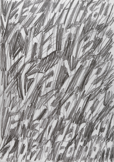 "White poster covered in graphite marks. Words in the negative space created by the graphite. Text reads from top to bottom: ""Jazz Willisau, Charles Gayle, Fr. 30 Jan. 09, 20.30 Foroom."""