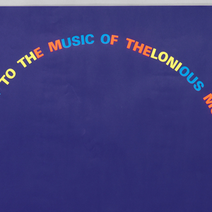 "Dark violet poster featuring text in blue, oragne, and yellow. Text creates the outline of a man's silhouette. Text reads: ""A TRIBUTE TO THE MUSIC OF THELONIOUS MONK. Freitag 5. September '86, 20.30 Uhr, Mohren. Jon Hendricks, George Adams, Bill Hardman, Walter Davis Jun., Stafford James, and Cliff Barbaro."""