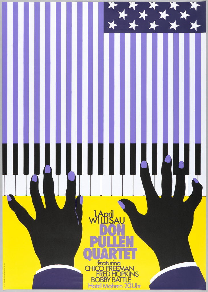 "Black hands with purple fingernails on yellow background at bottom, reaching up and playing black and white piano keys. Black keys become same purple as fingernails and extend up towards top of poster, becoming stripes on american flag. Flag's stars are white on darker purple background in top right corner. Text at bottom between hands: ""1.April Willisau, Don pullen Quartet featuring Chico Freeman, Fred Hopkins, Bobby Battle, Hotel Mohren 20 Uhr."""