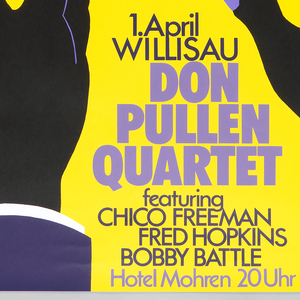 """Black hands with purple fingernails on yellow background at bottom, reaching up and playing black and white piano keys. Black keys become same purple as fingernails and extend up towards top of poster, becoming stripes on american flag. Flag's stars are white on darker purple background in top right corner. Text at bottom between hands: """"1.April Willisau, Don pullen Quartet featuring Chico Freeman, Fred Hopkins, Bobby Battle, Hotel Mohren 20 Uhr."""""""