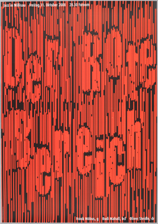 "Black poster with many thin, parallel, vertically-oriented and irregularly spaced orange stripes covering entire area. Text created by closely-spaced orange stripes reads: Der Rote Bereich."" White text on top and bottom reads: ""Jazz in Willisau, Freitag 31. Oktober 2008, 20.30 Foroom. Frank Mobus, g, Rudi Mahall, bcl, Oliver Steidle, dr."""
