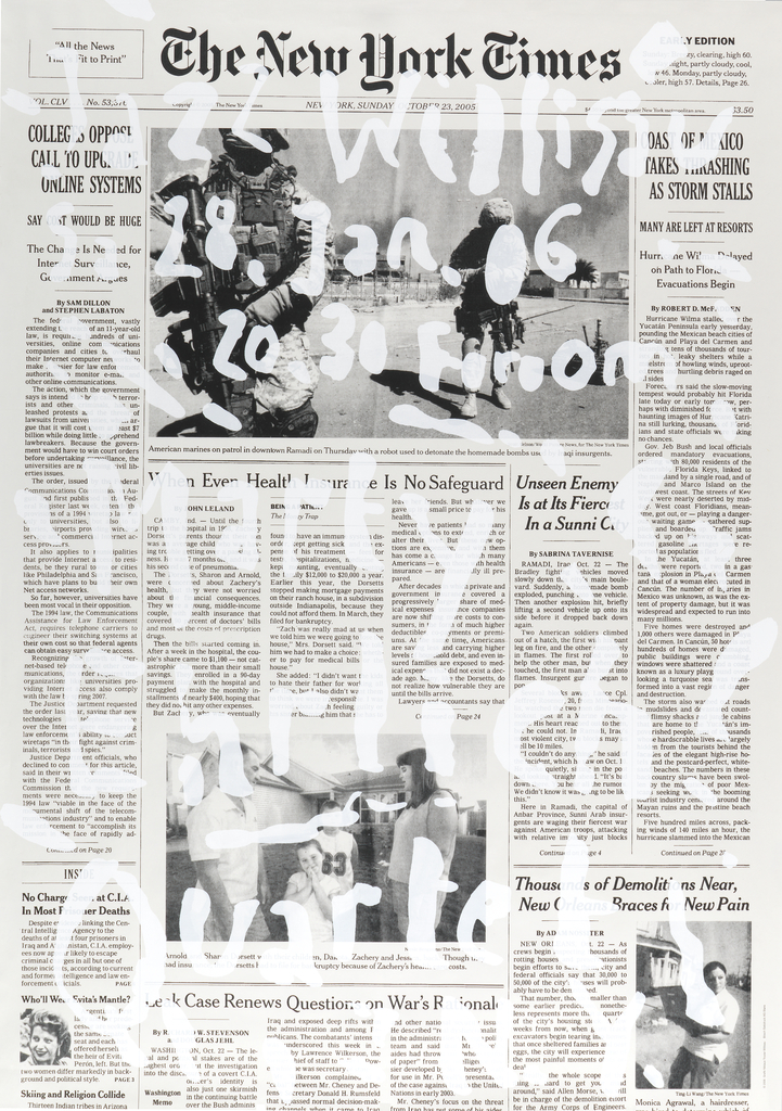"""Enlarged image of the front page of the New York Times from 23 October, 2005. Text overlayed in semi-transparent white reads from top to bottom: """"Jazz Willisau, Sa 28 Jan 06, 20.30 Foroom, Marty Ehrlich Quartet, N.Y."""""""