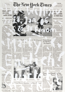"Enlarged image of the front page of the New York Times from 23 October, 2005. Text overlayed in semi-transparent white reads from top to bottom: ""Jazz Willisau, Sa 28 Jan 06, 20.30 Foroom, Marty Ehrlich Quartet, N.Y."""
