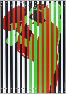 "Black and white vertically striped poster. On the black stripes, the green silhouette of a man playing the saxophone. On the white stripes, the red silhouette of a man playing the tuba. Text at top and bottom: ""Jazz is Willison, Sa 26 Nov 05 20.30h, Foroom. Bob Stewart tuba, Arthur Blythe alto sax."" 2005 Bosch Siedbruck AG Stans"
