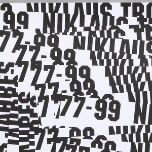 White poster with black text repeated multiple times and layers over itself in right angle patterns from the top left top the bottom right, in black ink: Schweizer Plakate des Jahres, 77-99 Niklaus Troxler.