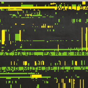 "Black poster with abstract, futuristic yellow and green lines and boxes reminiscent of barcodes across entire poster. Black text overlayed on some of these bars from top to bottom: ""Willisau Fr 21 Januar 2000, Rathaus PA RTE RRE 20.00, Wolfgang Muthspiel G VL Electronics, Christian Muthspiel TB P Electronics, Echoes of Techno."" 2000: Bosch Siebdruck AG, Stans/Luzern"
