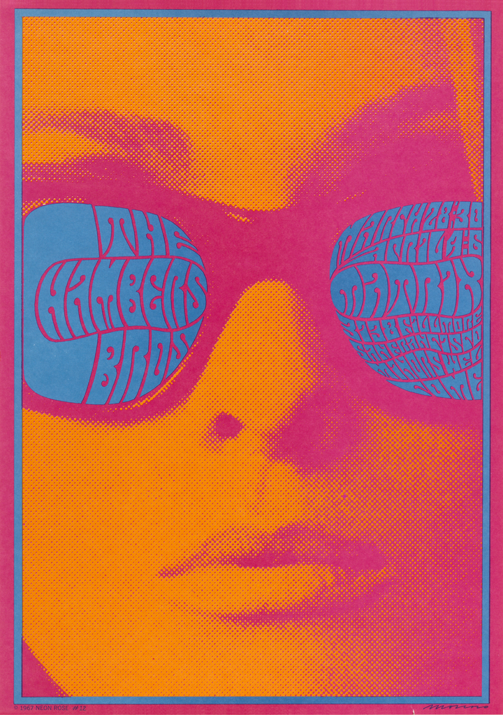 "Closeup of a woman's face in orange and red/pink halftone print. In blue/grey text on woman's sunglasses, ""The Chambers Bros"" (left lens) and date/location of event (right lens). Thin solid border in same blue/grey as the text, inside a red outer-border."