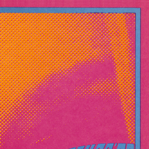 """Closeup of a woman's face in orange and red/pink halftone print. In blue/grey text on woman's sunglasses, """"The Chambers Bros"""" (left lens) and date/location of event (right lens). Thin solid border in same blue/grey as the text, inside a red outer-border."""