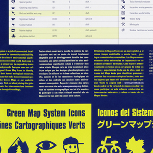 Vertical format poster with yellow and white square grid filling majority of lower composition, dark blue ground at top. Within white squres, symbol icons in navy blue. Description of symbols in yellow text below, written in English, French, Spanish, and Mandarin.