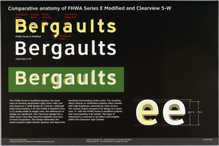 "On a black ground, at upper left, three rows of type with the fictitious place ""Bergaults.""  The top one in yellow in FHWA Series E-modified, the middle one in white in ClearviewHwy, and the lower one in white on green showing ClearviewHwy superimposed on the former font.  At bottom left, two blocks of text, at lower right exmples of the lowercase ""e"" with ClearviewHwy superimposed on FHWA Series E-Modified."