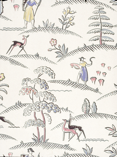 """17 single sheets of machine-printed wallpaper. A few have the mark of the United Wallpaper Co. on the back. Examples of children's, flocked, embossed and metallic papers are included. f) shows a polo match with men on horseback; g) contains rodeo scene of cowboys riding bulls on woodgrain ground; k) """"Zebraville contains French poodles playing a cello and accordian, and large yellow zebras. Produced by Asam Bros."""