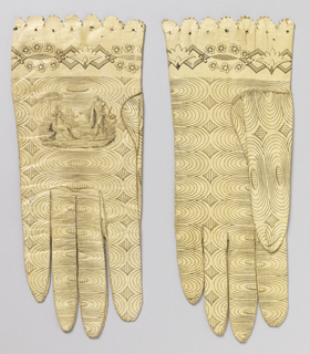 Pair of women's wrist-length white kid gloves with the upper edge scalloped, pinked and pierced. Printed all over in black in a fine linear design of concentric ovals. On the back of each hand, a scene of a gentleman giving a gift to a lady seated under a tree. Around the wrist, a chain of lozenge shapes and floral forms.