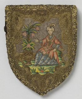 Small purse, shield shaped, embroidered in polychrome silks and metal thread. On one side, a lady in Turkish costume against couched silver ground; on reverse, basket of flowers, with wide borders worked in gold thread. Lined in coral taffeta, with a metal clasp.