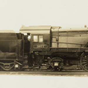 Side view of locomotive, facing to right.