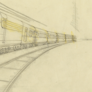 A final tissue for K-4 class locomotive, a streamlined train.    A locomotive, in the form of a bullet (engine number 5400) is depicted as approaching diagonally from right distance to left foreground on the center of three tracks.