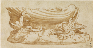 Saltcellar in shape of a shell with sea monster and waves underneath.