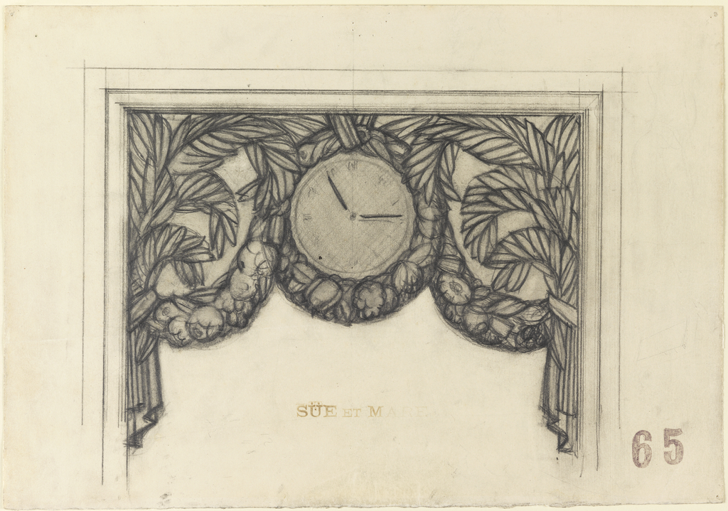 A floral garland draped in swags and encircling a central clock is suspended in the upper part of a doorway, window, or mantlepiece. Stylized palm(?) leaves fill the area on either side and above the clock and join the garland at the two sides ending in a stylized drapery. The decoration is bordered on three sides by a double molding. The clock numbers are only lightly suggested.