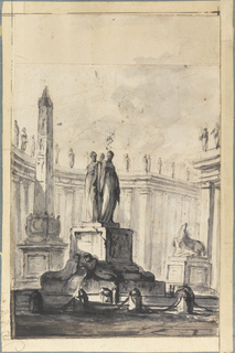 A fountain, an obelisk, and a statue of a horse are shown against parts of a colonnade.  Enlarged at the bottom and at left by the artist who wrote his signature in one of th eparts surrounding the fountain. Strips of paper have been added to the top and bottom of the drawing.