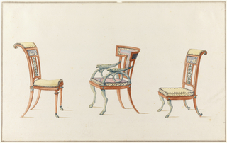 Left: chair with tall scroll back, classical rectangular panel, linear pierced elements; convex seat upholstered in yellow, edged with blue scalloped trim, straight front legs with hoof-like feet, back legs, slightly splayed; center: chair with semi-open back, arms of coiled animal horns adorned with bird-like figure, front legs in form of animal legs, backed legs slightly splayed; right: chair with tall scroll back, classical panel, linear pierced element; seat cushion is yellow, trimmed in blue, front legs in front of animal legs, back legs slightly splayed.