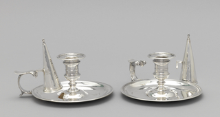 Pair Of Chambersticks With Snuffers (England)