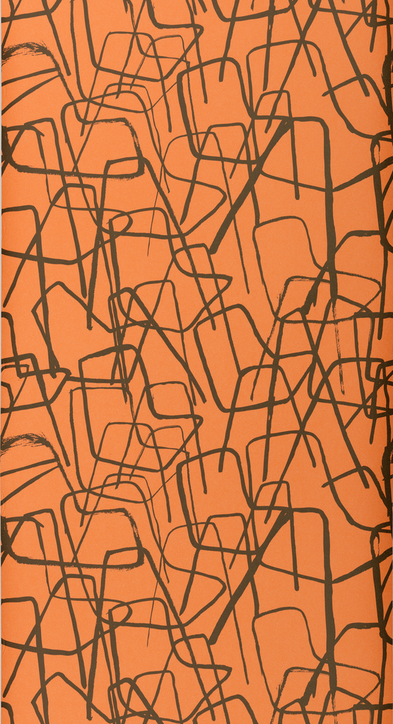 Overlapping and stacking line illustrations of chairs, freely drawn as if with felt tip marker, which create a very textural pattern. Printed in black on orange.