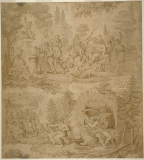 Bacchus, seated on a donkey and attended by wood-nymphs, approaches an altar at which Silenus is making a sacrifice and about which a drunken revel is taking place (symbolizing Autumn); In the lower right, Chronos warms himself at a fire before the entrance to an ice-covered cave, and is accompanied by another figure, while in the distance towards the left, a feast is seen taking place (symbolizing Winter).