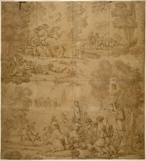 In the upper left, Flora seated in a landscape is being kissed by Zephyr lying on a cloud-bank, while a river god sleeps to the left and two children drive sheep to pasture to the right (symbolizing Spring).  In the lower left, figures offer children, fruit, and other foods to Ceres, seated in a bower, while in the distance, figures are seen dancing in a wheat field (symbolizing Summer).