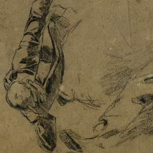 Four sketches of soldiers; two soldiers charging with rifles, at top; and two lying wounded on the ground, at bottom.