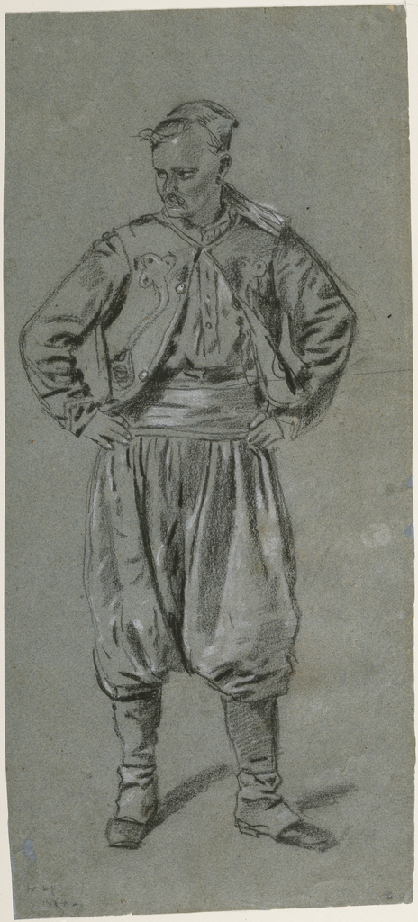 Vertical frontal view of a Zouave, with his hands on his hips, looking down and to the left.