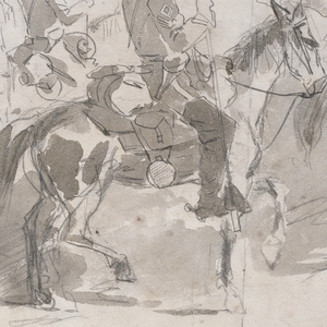 Drawing, General McClellan's Sixth Cavalry Regiment Embarking at Alexandria for Old Point Comfort