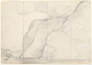Horizontal study for painting of the same name, with more mountain shown, more of mountains in distance, and faint indication of boat at bend of river.