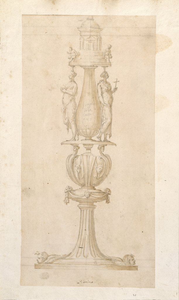 "At the bottom, a fluted shaft rises between two cherubim heads from a circular plinth.  Above is a ""knob"" decorated with drapery festoons supported by two rams' heads (at each side) and a child's head (at center), which supports the form above.  This form shows two masks hanging from the upper spirals of gaine scrolls which are projecting clasp-like (three of these are shown); atop the lateral gaine scrolls are harpy heads, which, together with a pedestal in the center, support a base for the vessel-shaped shaft above.  Flanking this vessel-shaped shaft are two women carrying capitals on their heads; the right one holds a small cross, the left one holds something that cannot be interpreted.  At the top, a circular, domed structure with steps, upon which two children/angels are seated at either side."