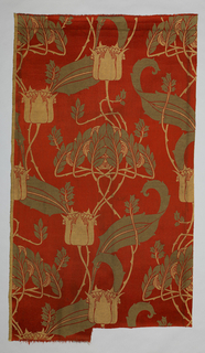 Art Nouveau design of stylized flowers on a thorny vine with whiplash curving leaves, in beige and grey on deep red background.