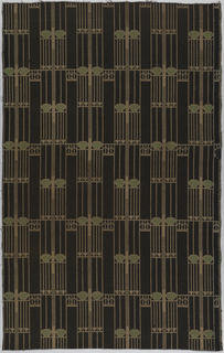 Length of woven wool with columns of fine vertical lines broken by rows of inverted triangles and heart-like shapes in beige with touches of pale green on a black ground (faded to dark brown in some areas).