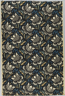 Length of printed linen with off-set rows of stylized flowers facing alternating directions, creating an over-all lattice-like design.  Printed in black, blue, blue/green and yellow on a white ground.