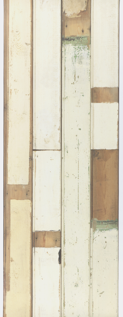 Pattern simulates a bead-board paneled wall, composed of found wood planks layed end to end, painted in varying shades of off-white, complete with nail holes, abrasions, and other scars.
