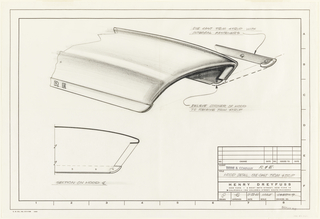 Sketch of details of hood design for John Deere tractor.