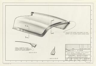 Drawing, Hood detail, molded trim strip, hood flange turned out, for John Deere