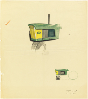 Drawing, Tractor, side view of hood, engine body, for John Deere
