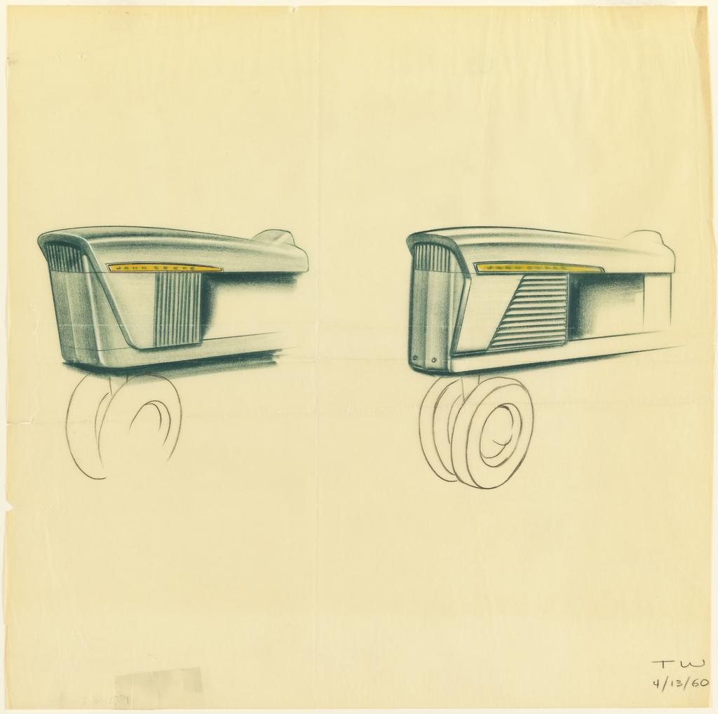 Two alternate drawings for views of engine hood of John Deere tractor.