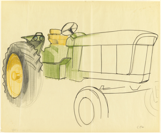 Sketch of John Deere tractor viewed from the side.