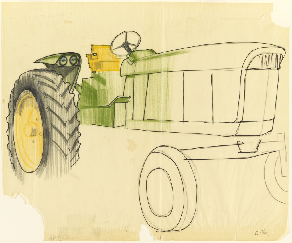 Line Drawing Tractor : Pin drawn tractor line drawing john