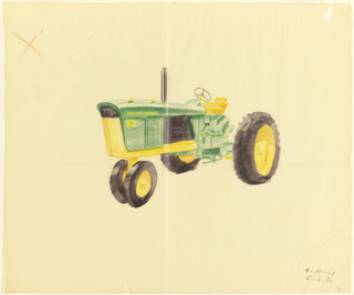 Drawing of John Deere tractor viewed from side.