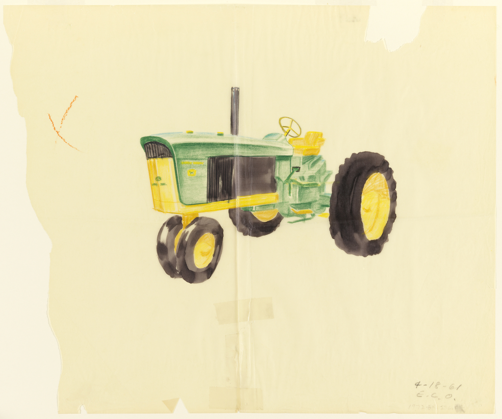 Detailed drawing of John Deere tractor viewed from side.