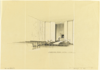 Drawing, Function room, altar, for Uris Hotels